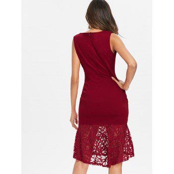 Lace Panel Bodycon Fishtail Dress - RED WINE L