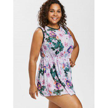 Plus Size Floral One Piece Ringer Swimsuit - multicolor L