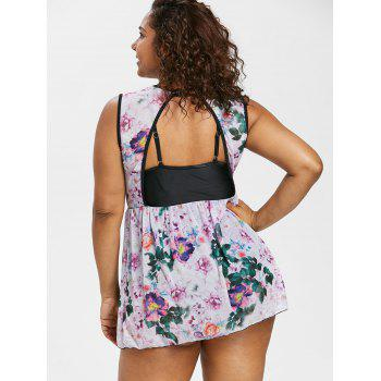 Plus Size Floral One Piece Ringer Swimsuit - multicolor 4X