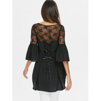Lace Up Sheer Lace High Low Blouse - BLACK L