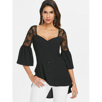 Lace Up Sheer Lace High Low Blouse - BLACK XL