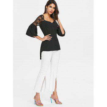 Lace Up Sheer Lace High Low Blouse - BLACK M