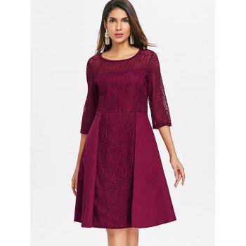 Floral Lace Fit and Flare Dress - RED WINE XL