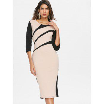 Color Block Midi Bodycon Dress - APRICOT M