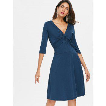Front Knot Flare Dress - PEACOCK BLUE XL