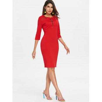 Lace Up Bodycon Dress - LOVE RED L