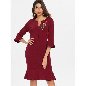 Embroidered Fishtail Dress - RED WINE L