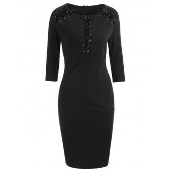 Lace Up Bodycon Dress - BLACK S