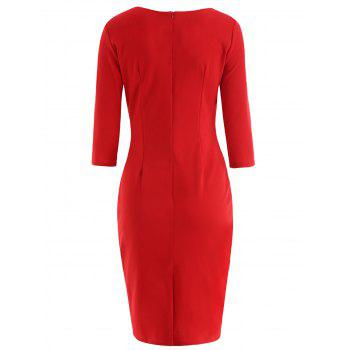 Lace Up Bodycon Dress - LOVE RED M
