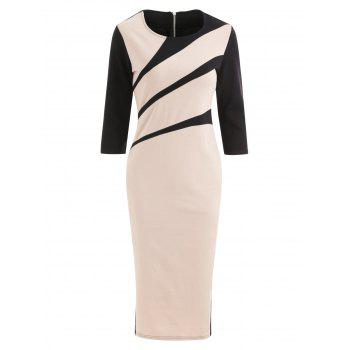 Color Block Midi Bodycon Dress - APRICOT L