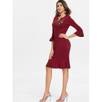Embroidered Fishtail Dress - RED WINE M