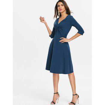 Front Knot Flare Dress - PEACOCK BLUE M