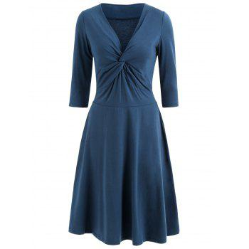Front Knot Flare Dress - PEACOCK BLUE 2XL