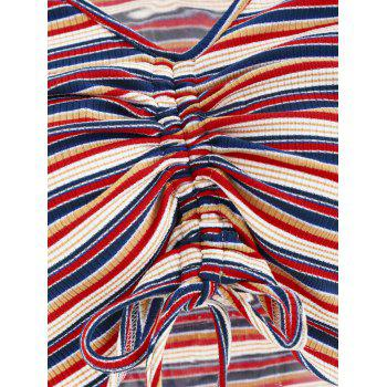 Ruched Plunge Crop Top - multicolor M