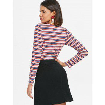 Ruched Plunge Crop Top - multicolor L