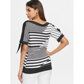 Slit Sleeve Striped Blouson Top - BLACK M
