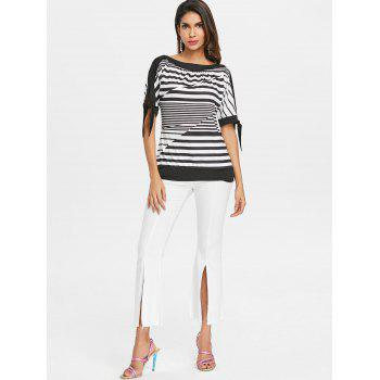Slit Sleeve Striped Blouson Top - BLACK XL
