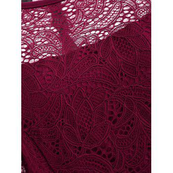 Floral Lace Fit and Flare Dress - RED WINE M
