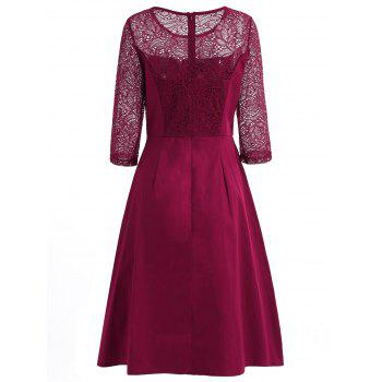 Floral Lace Fit and Flare Dress - RED WINE L