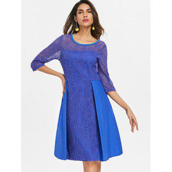 Floral Lace Fit and Flare Dress - BLUEBERRY BLUE M