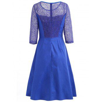 Floral Lace Fit and Flare Dress - BLUEBERRY BLUE L