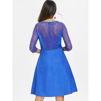 Floral Lace Fit and Flare Dress - BLUEBERRY BLUE 2XL
