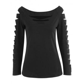 Cut Out Boat Neck T-shirt - BLACK S