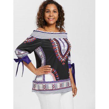 Plus Size Ethnic Print Off Shoulder Peasant Top - BLACK 1X