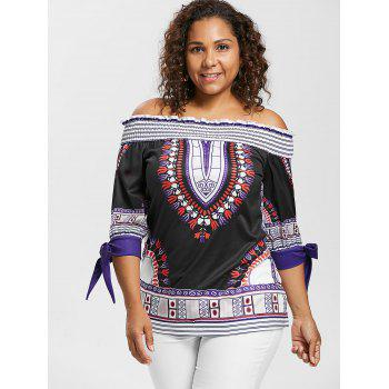 Plus Size Ethnic Print Off Shoulder Peasant Top - BLACK 4X