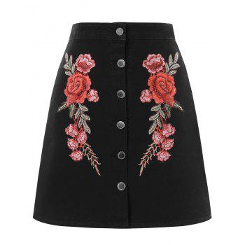 High Waist Embroidered Mini Skirt - BLACK L