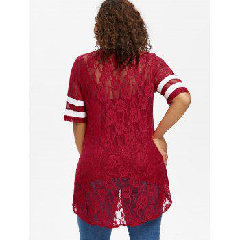 Plus Size Contrast Trim Floral Lace T-shirt - RED 5X