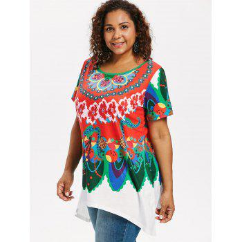 Plus Size Short Sleeve Ethnic Print T-shirt - multicolor 4X