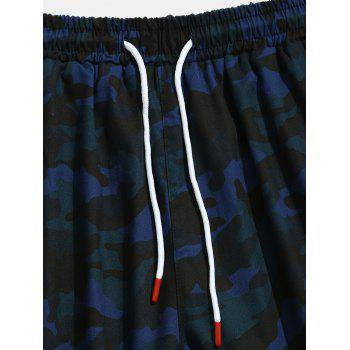 Contrast Camouflage Patch Pockets Cargo Shorts - NAVY CAMOUFLAGE M