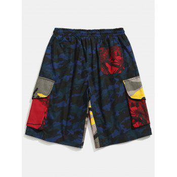 Contrast Camouflage Patch Pockets Cargo Shorts - NAVY CAMOUFLAGE XL