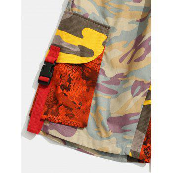 Contrast Camouflage Patch Pockets Cargo Shorts - PINK S