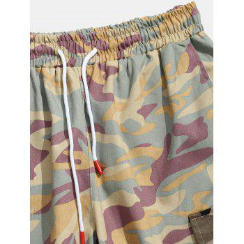 Contrast Camouflage Patch Pockets Cargo Shorts - PINK L