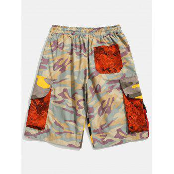 Contrast Camouflage Patch Pockets Cargo Shorts - PINK 2XL