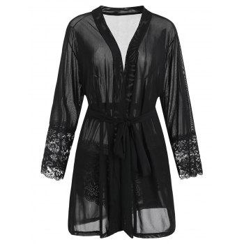 Plus Size Lace Trim Robe with Belt