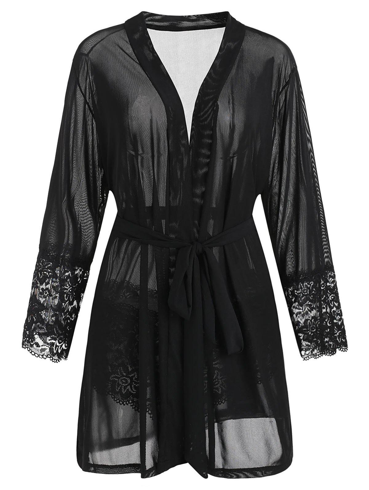 Plus Size Lace Trim Robe with Belt - BLACK 1X