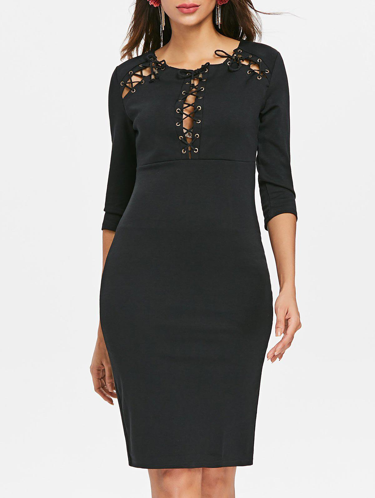 Lace Up Bodycon Dress - BLACK 2XL