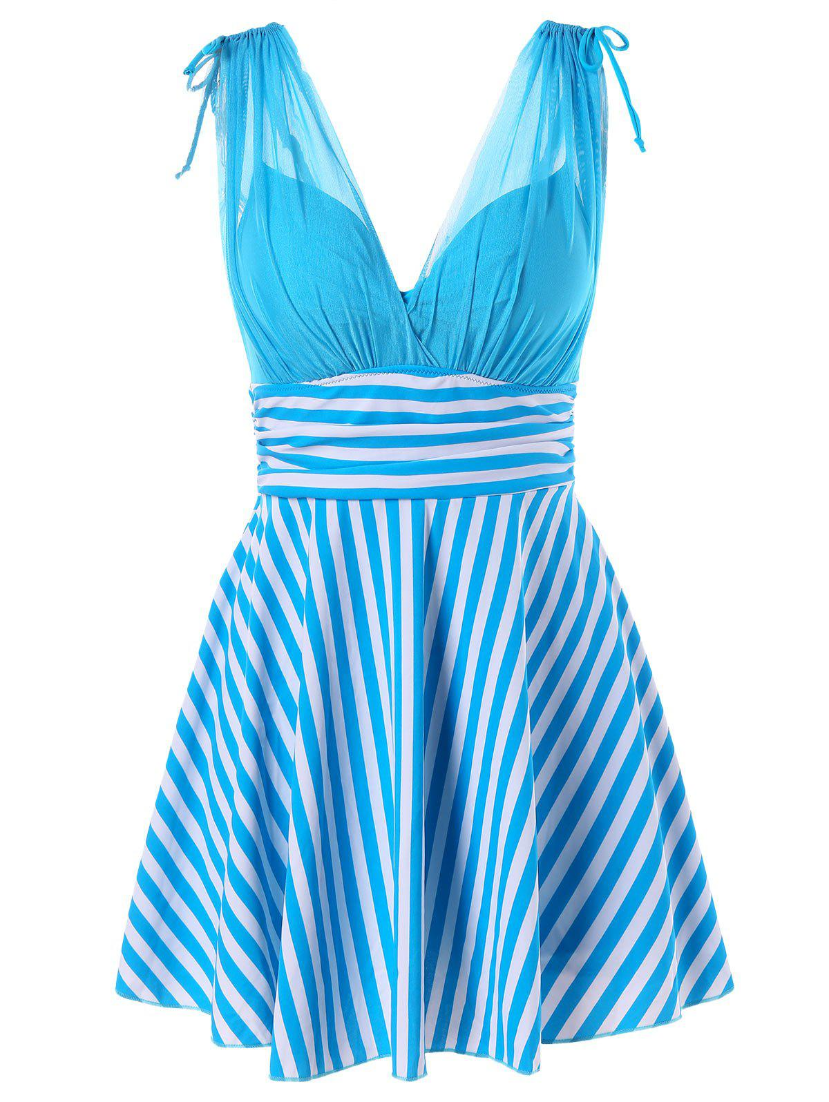 Empire Waist One Piece Stripe Skirted Swimsuit - BUTTERFLY BLUE L