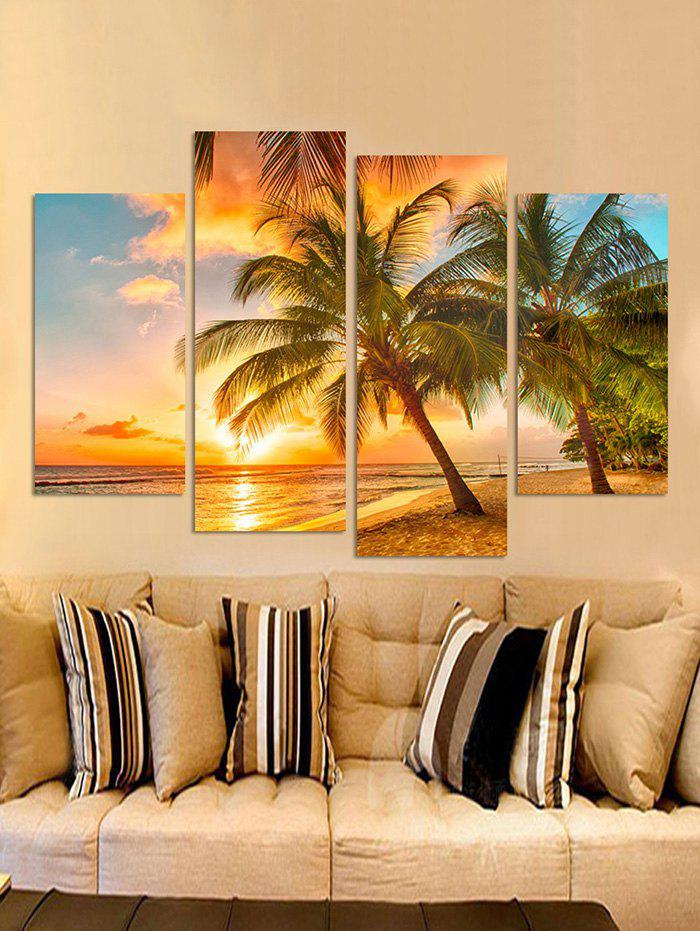 Beach Palm Tree Print Unframed Canvas Paintings - multicolor 2PCS:10*16,2PCS:10*24 INCH( NO FRAME )
