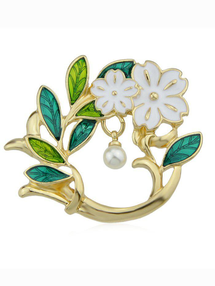 Artificial Pearl Floral Brooch - GOLD