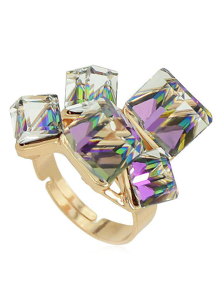 Faux Crystal Geometric Ring - PURPLE ONE-SIZE