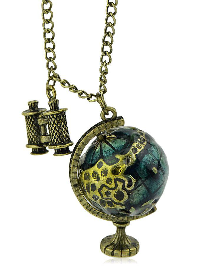 Vintage Earth Globe Chain Necklace - GOLD