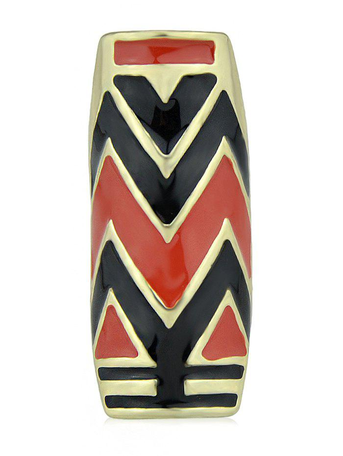 Zigzag Printed Long Ring - RED ONE-SIZE