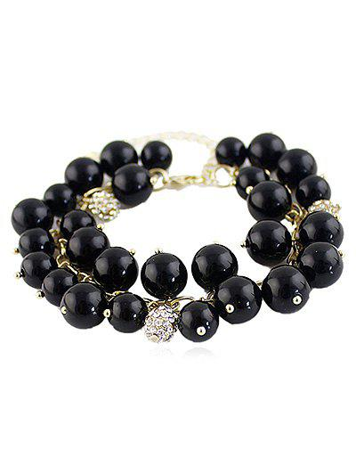 Faux Pearl Beaded Bracelet With Rhinestone - BLACK