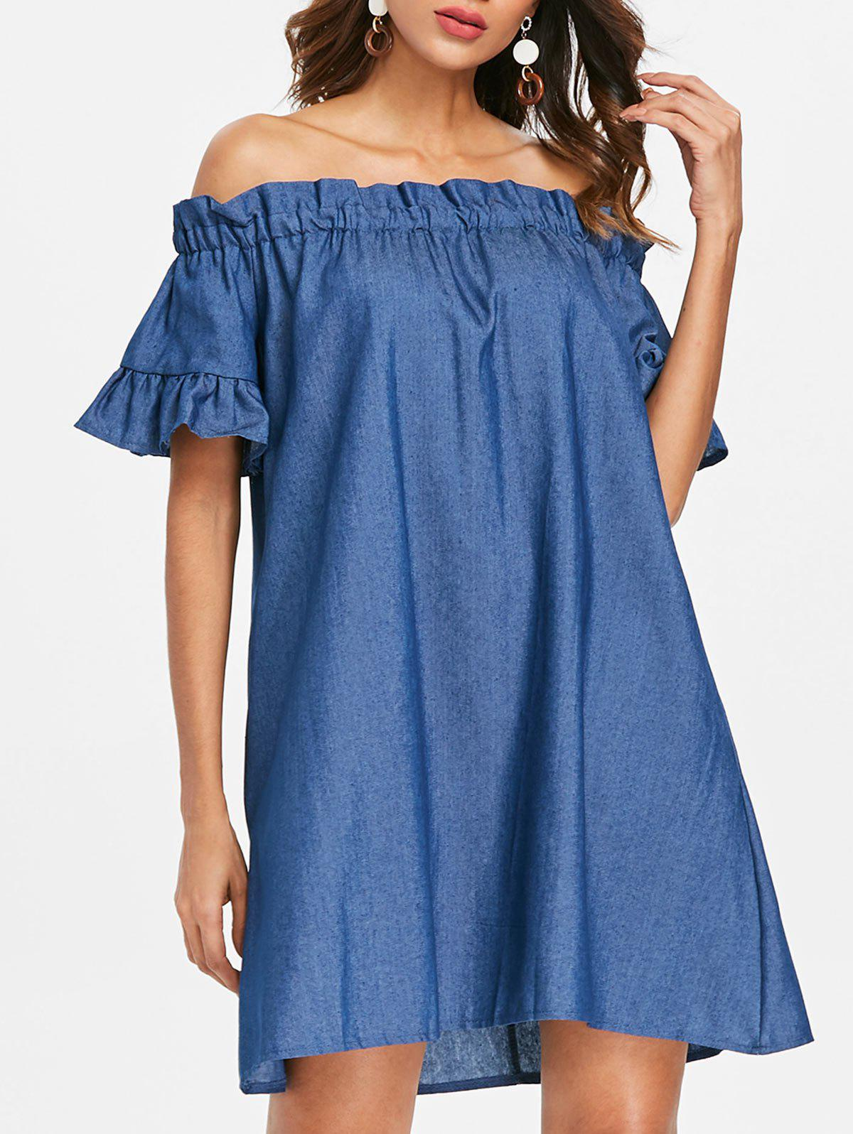 Flounce Trim Off The Shoulder Dress - DEEP BLUE XL