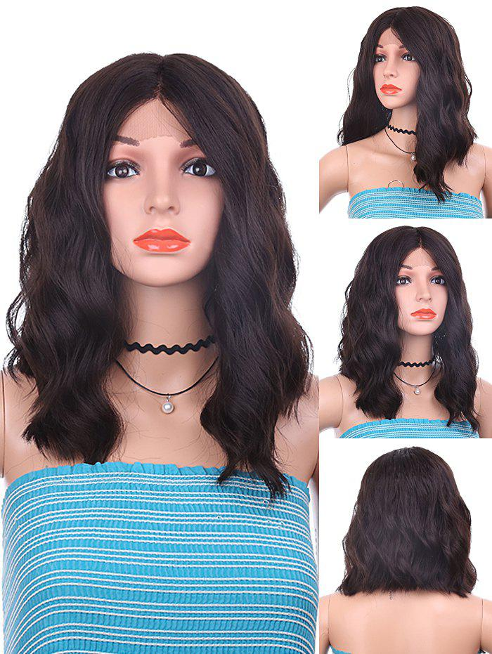 Center Parting Medium Natural Wavy Synthetic Lace Front Wig - NATURAL BLACK 16INCH