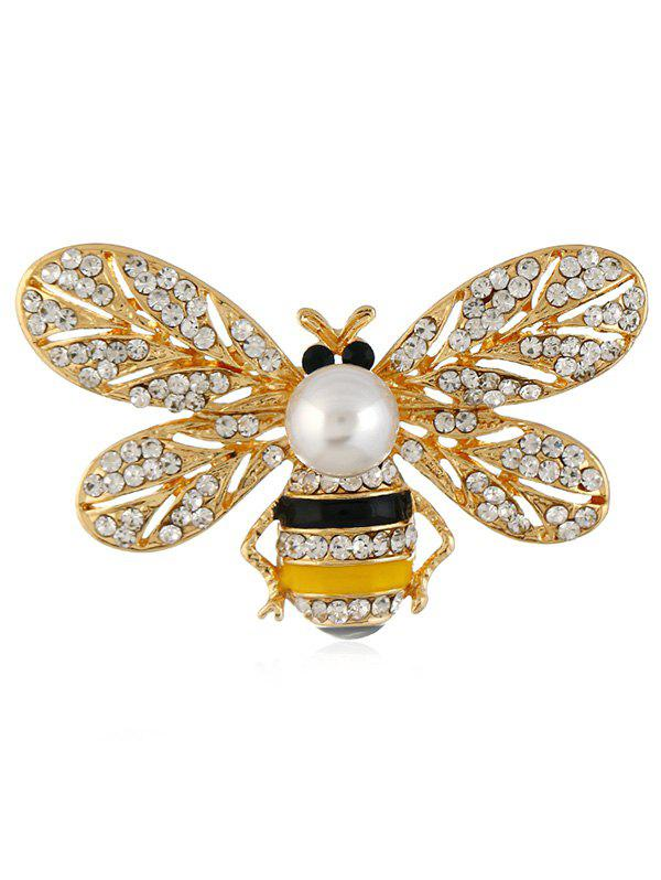 Vintage Rhinestone Bee Decorative Brooch - GOLD